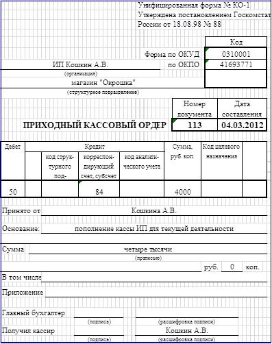образец заполнения ПКО для ИП